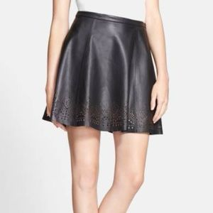 Joie Black Senica Laser-Cut Leather Skirt Size M